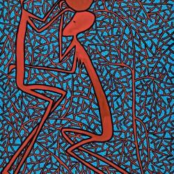 """""""Beauté Congo"""", Fondation Cartier pour l'art contemporain, huile sur toile de 1980 de Mode Muntu"""