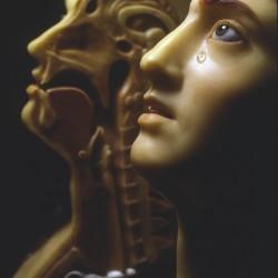 Femme à la larme. Cire colorée modelée, André Pierre Pinson 1784 - Musée de l'homme